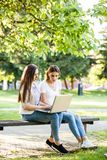Deux amis féminins en parc se reposant sur le banc et travaillant au lapto Photographie stock