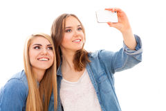 Deux amis féminins faisant un selfie Images stock