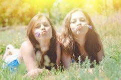 Deux amis féminins heureux jouant dans l'herbe verte Images stock