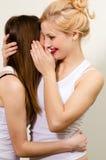 Deux amis féminins heureux souriant et partageant le secret Photographie stock