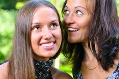 Deux amis féminins partagent des secrets Image stock
