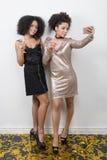 Deux amis féminins prenant le selfie Image stock