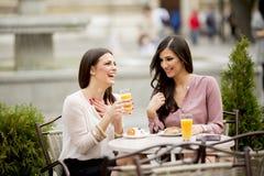 Deux amis féminins s'asseyant dans un café et ont l'amusement Photos libres de droits