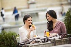 Deux amis féminins s'asseyant dehors Image stock