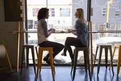 Deux amis féminins se réunissant dans le café Image stock