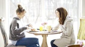 Deux amis féminins se réunissant dans un café Photos stock