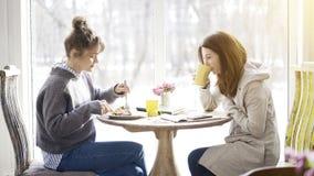 Deux amis féminins se réunissant dans un café pour manger Image libre de droits