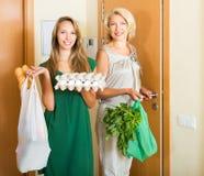 Deux amis féminins venant à la maison Image libre de droits