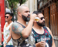 Deux amis gais Photo stock