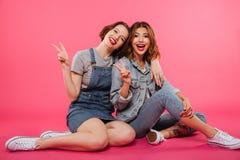 Deux amis gais de femmes s'asseyant sur le plancher Photos stock