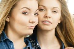 Deux amis heureux de femmes ayant l'amusement Photo stock