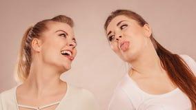 Deux amis heureux de femmes ayant l'amusement Photos libres de droits