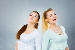 Deux amis heureux de femmes ayant l'amusement Images stock