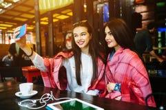 Deux amis intimes font le selfie dans le café Photographie stock libre de droits