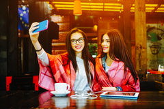 Deux amis intimes font le selfie dans le café Photographie stock