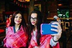 Deux amis intimes font le selfie dans le café Photo libre de droits