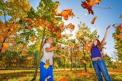 Deux amis jouant avec les feuilles jetées dans la forêt Image stock