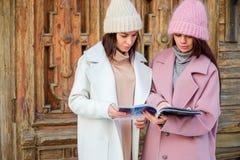 Deux amis lisant un magazine ensemble Photographie stock
