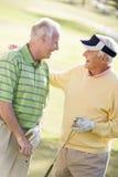 Deux amis mâles appréciant le jeu du golf Photos stock