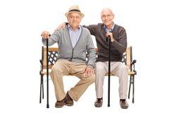 Deux amis mûrs posant ensemble assis sur un banc Photo stock