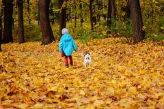 Deux amis marchant à partir de l'appareil-photo au parc d'automne de chute Photo stock
