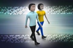 Deux amis marchent ensemble Images libres de droits