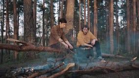 Deux amis masculins s'asseyant sur la forêt d'identifiez-vous, faisant cuire le barbecue et parler banque de vidéos