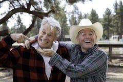 Deux amis masculins supérieurs faisant les visages drôles Photos libres de droits