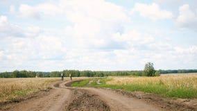 Deux amis montant la bicyclette sur une route rurale parmi des champs de blé photographie stock