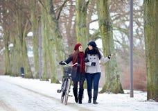 Deux amis pendant leur liaison dans le froid dehors Photos stock