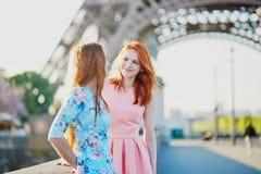Deux amis près de Tour Eiffel à Paris, France Image stock