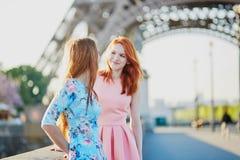 Deux amis près de Tour Eiffel à Paris, France Images stock