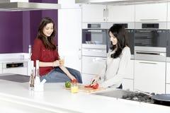 Deux amis préparant la nourriture Image stock
