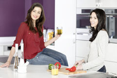 Deux amis préparant la nourriture Photos stock