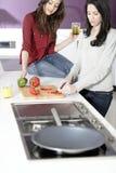 Deux amis préparant la nourriture Photo libre de droits