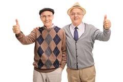Deux amis supérieurs posant ensemble Photo libre de droits