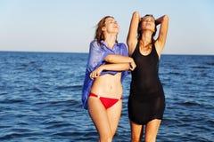 Deux amis sur une plage Photos libres de droits