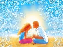 Deux amoureux embrassant sur la plage illustration libre de droits