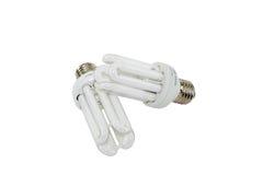 Deux ampoules économiseuses d'énergie électriques Photographie stock
