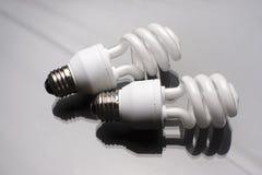 Deux ampoules spiralées Photographie stock