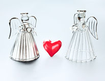 Deux anges avec des coeurs Photographie stock