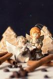 Deux anges en céramique dans la forêt de féerie Image stock