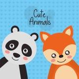 Deux animaux mignons panda et renard amicaux Image libre de droits