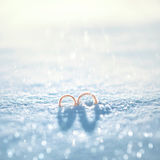 Deux anneaux d'or les épousant sur la neige dans le jour d'hiver Image libre de droits