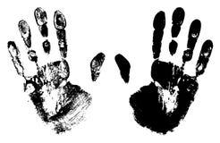 Deux Art Hand Prints noir Photographie stock libre de droits