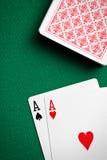 Deux as sur la table de casino Image libre de droits