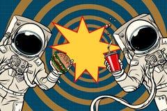 Deux astronautes mangent des aliments de préparation rapide de déjeuner illustration de vecteur
