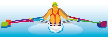 Deux athlètes forts concurrencent en concours d'aviron sur le bateau Image libre de droits