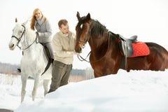 Deux avec des chevaux photographie stock