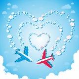 Deux avions dans le ciel Image libre de droits
